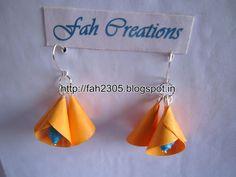 Handmade Jewelry - Paper Cone Bell Earrings (19) | Flickr - Photo Sharing! Paper Bead Jewelry, Paper Beads, Beaded Jewelry, Handmade Jewelry, Diy Jewellery, Origami, Flower Earrings, Drop Earrings, Paper Quilling