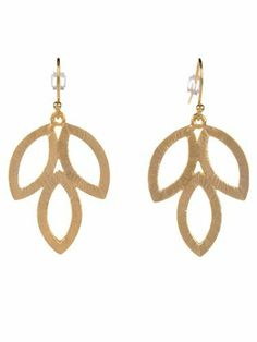Style Tryst Brushed Leaf Earrings - Gold Style Tryst. $24.00