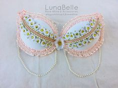 pink and gold daisy rave bra