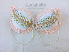 pink and gold daisy rave bra by LBraveattire on Etsy