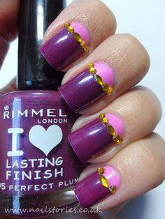 Purple and pink nail