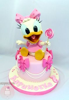 Baby Daisy Duck birthday cake by kayla Fancy Cakes, Cute Cakes, Daisy Duck Cake, Bolo Mickey, Minnie Cake, Character Cakes, Disney Cakes, Novelty Cakes, Girl Cakes
