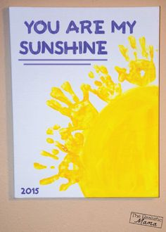 This cute You Are My Sunshine Handprint Keepsake is a great DIY project to do with your kids. Display their little hands in their rooms with this fun craft!