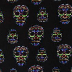 100-Viscose-Neon-Skulls-Print-Dress-Fabric-Material-Black-Ground