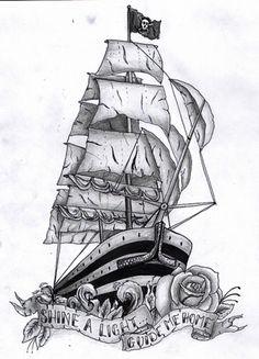 pirate ship tattoo flash - Google Search