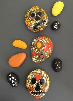 Hand Painted Rock - Sugar Skull Inspired Design - ethereal & earth - otherworldly & of this world creations!
