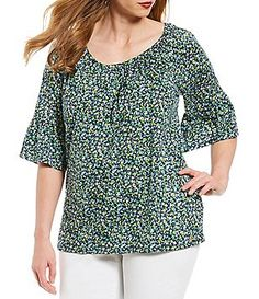 0a125a0468b4 MICHAEL Michael Kors Plus Size Tiny Wildflowers Print Gathered Neck Flare  Sleeve Peasant Top Plus Size