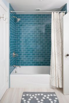 Bathroom White Subway Tile Blue Green Stone Accent Design Ideas, Pictures, Remodel and Decor