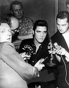 """... Presley's presence startled most who saw him close up at the press conference. Looking back over forty-five years later, Red Robinson confessed, """"He was a very impressive guy and probably -- I know this probably sounds strange, but I'm going to say it anyway -- probably the handsomest man I ever saw in my life. I'd never seen anybody this handsome. It was unbelievable.""""  Quote from essential Alan Hanson book Elvis '57 - The Final Fifties Tours"""