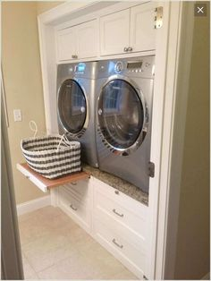 Build a Space for The Washer and Dryer Between Cabinets and Drawers