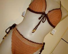 "Sizes 12-14 Crochet Bikini/Monokini/Top Swimsuit Bathing Suit Crochet Handmade Golden Brown Crochet Bikini Swimwear, Called: ""Down To Earth"""