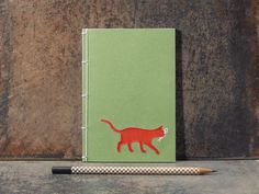 Red Cat Notebook. Embroidered Notebook. Cat Lover Notebook.