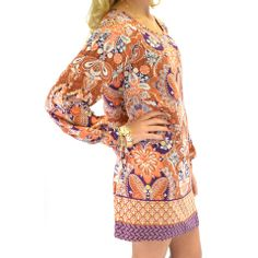 Landslide Purple Paisley Print Dress   Amazing Lace