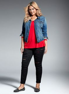 Plus Size Denim Jacket - Plus Size Fashion for Women