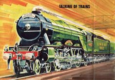 """""""Flying Scotsman, as featured in World of Wonder, Dad Cake, Flying Scotsman, Train Art, Trains, Diesel, Transportation, Electric, Dads, Posters"""