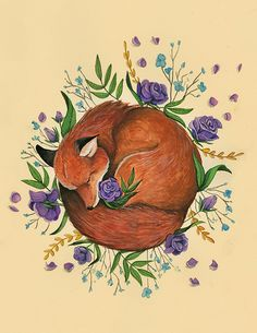 Floral Fox, fox illustration with flowers,8.5 x 11 Art Print Illustration Drawing Poster Wall Décor Wall Hanging