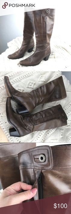 Miu Miu brown leather western mid calf boots 8.5 Authentic Miu Miu boots, made in Italy. Size is 38.5 which corresponds to 8.5 but please check measurements with your usual shoes first to make sure the conversion is right. IT NEEDS LOVE & CARE!!! The leather color is coming off at some point and has some stains, please bring it to a professional if you do not know how to fix it. They deserve a nice Second Life!! Inside zip and button on top (one is coming off) Insole length 12in width 3 1/4…