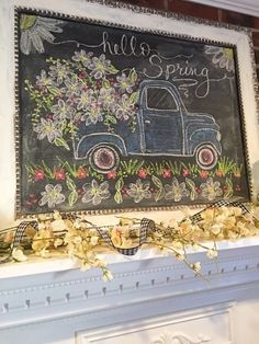 Good morning!   Yesterday I changed out the tulips for daisies on the family room mantel and decided it was time for a new chalkbo...