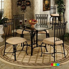"""Black Wrought Iron Table And Chair Sets 48"""" Round Wrought Iron"""