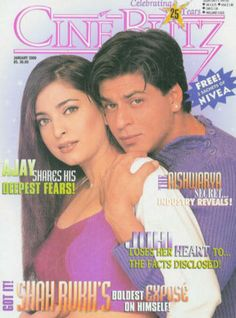 SRK and Juhi Chawla - Cine Blitz magazine cover January 2000