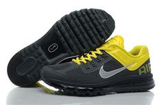 Coal black Yellow  Nike Air Max+ 2013 Men's Running Shoes