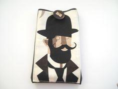 """Uomo hipster con i baffi su Kindle Paperwhite custodia o e-reader da 6"""" simil pelle nera con tasca by Lunica #italiasmartteam #etsy"""