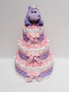 Pink Purple Hippo Diaper Cake Baby Shower Centerpiece