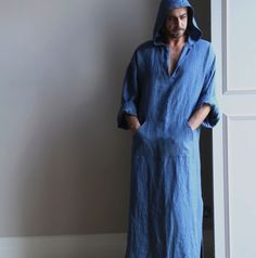 Denim+Blue+pure+linen+men's+kaftan.+Hooded+tunic.+Winter+soft+cosy+caftan.+Home-wear.