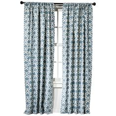 Farrah Fretwork Window Panel in Blue my new curtains for my living room Pinch Pleat Curtains, Pleated Curtains, White Curtains, Curtains With Blinds, Panel Curtains, Bedroom Curtains, Office Curtains, Patterned Curtains, Curtains Living