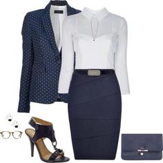 I have my version of this outfit: Navy blue pencil skirt, a polka dot sweater not a blazer, white blouse, and blue wristlet. .LP