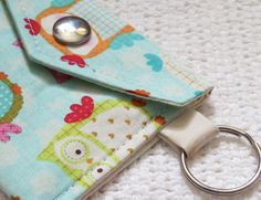 Business Card / License Key Fob  Owls Patchwork by shannyann