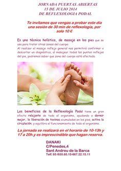 Danaki os presenta el próximo día 15 de Julio de 2014 puertas abiertas de reflexologia