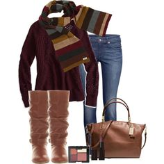 oxblood and brown, created by norynieves on Polyvore