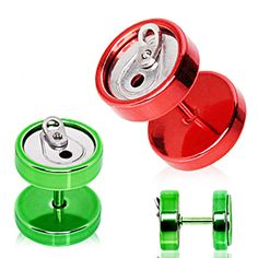 PVD Plated Soda Can Fake Plug - 16GA Green - Sold as a Pair