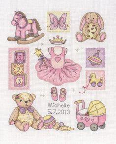 Baby girl birth sampler Anchor cross stitch kit.