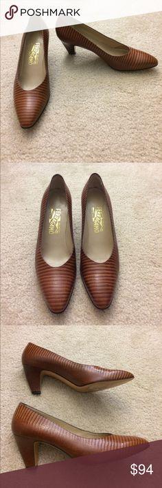Salvatore Ferragamo textured pump Salvatore Ferragamo textured pumps. Small nick on one heel and some wear and tear on soles. Heel is 2.75 inches. Size 9.5 B. (KD) Salvatore Ferragamo Shoes Heels