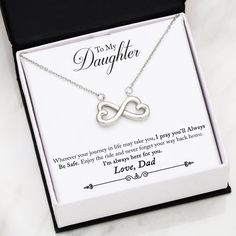 To My Daughter From Dad- Infinity Heart Necklace. Celebrate your everlasting love for your daughter. White Gold finish or Yellow Gold. Made in USA! Infinity Love, Infinity Heart, Infinity Necklace, Infinity Symbol, Love Necklace, To Infinity And Beyond, Pendant Necklace, Infinity Tattoos, Infinity Pendant