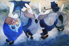 aquarelle-nicole-pastor-bigoudenes-voleurs-sous-la-pluie | Flickr: partage de photos!
