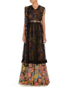Multicolored Sharara Set with Sheer Tunic- Buy Suits,SAMOR | Pragya & Megha Online | Exclusively.in