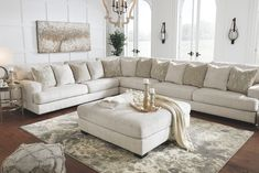 May 2019 - Rawcliffe Oversized Accent Ottoman Parchment Off-White - Signature Design by Ashley Ottoman In Living Room, Living Room Sectional, New Living Room, Living Room Furniture, Living Room Decor, White Sectional, Sectional Sofas, Ashley Sectional, Oversized Sectional Sofa