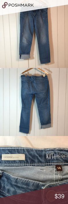 Kut from the Kloth boyfriend jeans size 14! Catherine style boyfriend jeans, lighter wash. Jeans are in like new condition.  Waist 19 Inseam  28 Kut from the Kloth Jeans Boyfriend