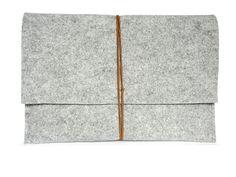 """Macbook Pro 13"""" Filz Grau Wolle Tasche von Libivee auf DaWanda.com"""