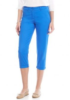 Crown & Ivy™ Women's Solid Casual Capri - Blue Jewel - 16