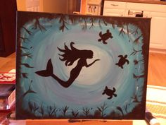 Mermaid in sea Bat Signal, Superhero Logos, Mermaid, Paintings, Sea, Simple, Frame, Home Decor, Homemade Home Decor