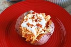 Buffalo Chicken Loaded Baked Potatoes - Perfect for Super Bowl - Eat at Home