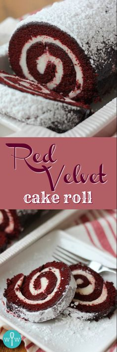 Velvet Cake Roll Red Velvet Cake Roll - A moist, spongy red velvet cake coated in powdered sugar and rolled up around a smooth and creamy cream cheese filling. Köstliche Desserts, Delicious Desserts, Dessert Recipes, Health Desserts, Plated Desserts, Salad Recipes, Holiday Baking, Christmas Baking, Christmas Cheese