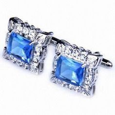 Fashionable Square Cuff Links with Crystals