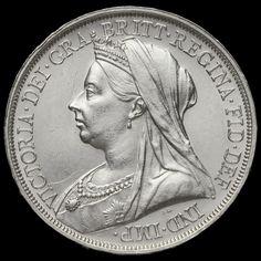 1893 Queen Victoria Veiled Head Silver LVI Crown, G/EF