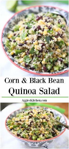 If you have been wanting (or reluctant) to try quinoa, this Corn & Black Bean Quinoa Salad recipe is for you! This Corn and Black Bean Quinoa Salad is a favorite in my house! A wonderful vegetarian meal or side dish for your main meal. Recipe via aggieskitchen.com
