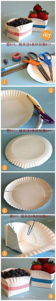 Buenísima idea para una fiesta desayuno... cestas de frutas con platos de cartón....